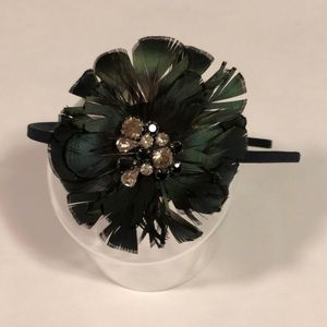 J. Crew Green Feather and Jeweled Head Band